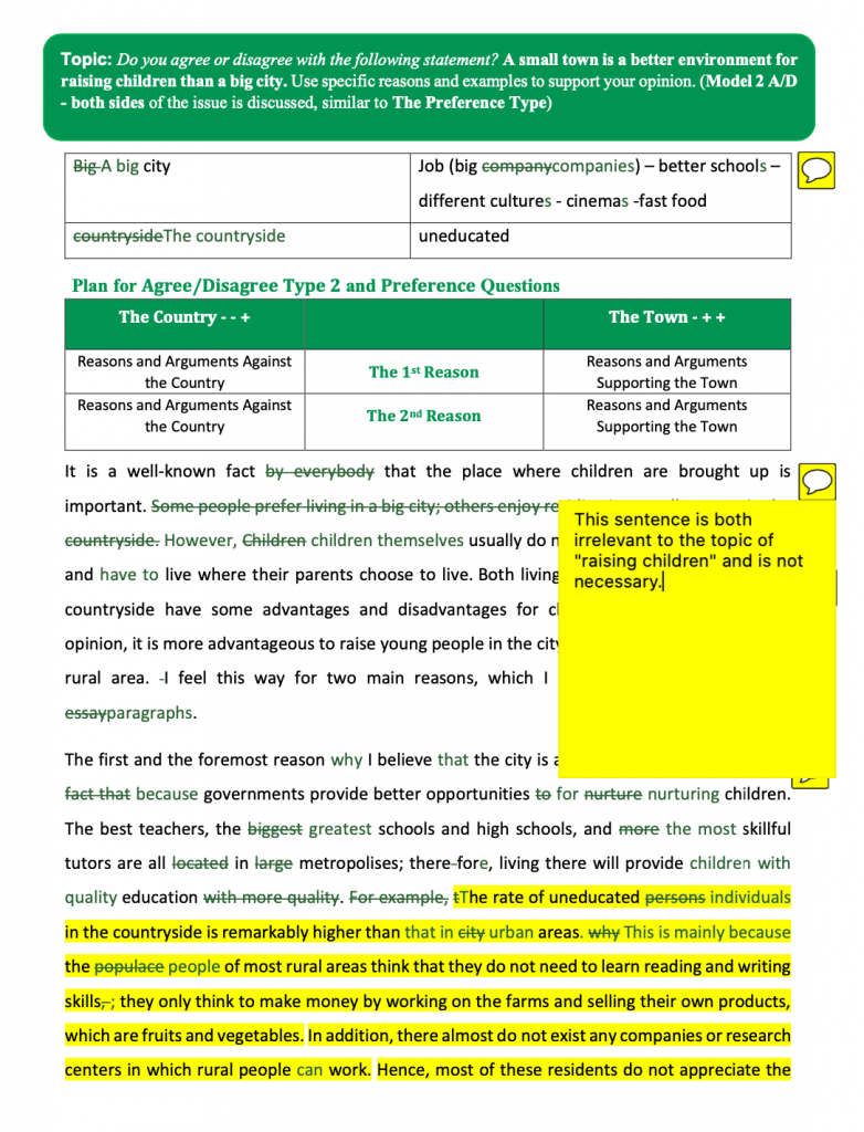 نمونه تصحیح کارنامه تخصصی تکمیلی Writing